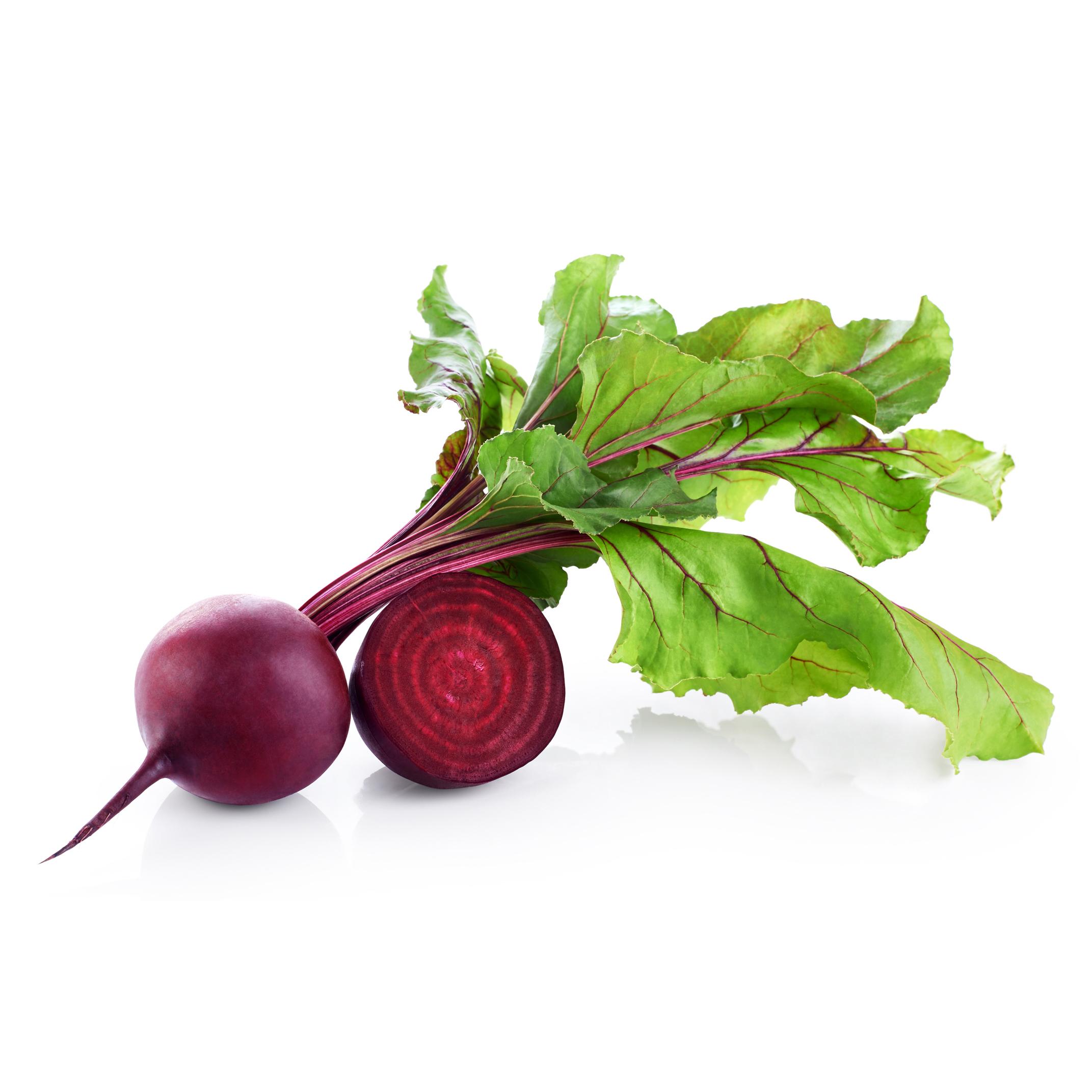 ロシア料理のボルシチなどによく使われている赤い根菜です。 てんさい糖の原料となる甜菜の一種で、甘くてとてもおいしい野菜です。 食物繊維も豊富で、腸内環境の改善に良いとされています。また、赤い色素成分であるベタシアニンは、強い抗酸化力があるため、健康維持に役立ちます。