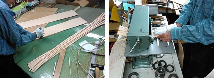 """首輪ごとの巾に合わせて切り分け、加工や軽量化のために、一枚一枚均一に薄く漉(す)きます。より丈夫な作りにするため、この首輪は2枚の革を合わせて縫製しています。サイズ調整用や部品取り付けのための穴を1本1本あけていき、側面を綺麗に仕上げます。この首輪は""""ふのり""""をつけ、その後磨きます。"""